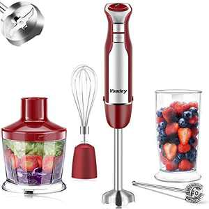 Vsadey Immersion Blender, 500W Hand Blender, 5-in-1 9-Speed Stick Blender with 600ml Beaker, Chopper, Whisk, Milk Frother, BPA-Free, 500ml Food Grinder for Sauces Smoothies Puree Infant Food & Soups