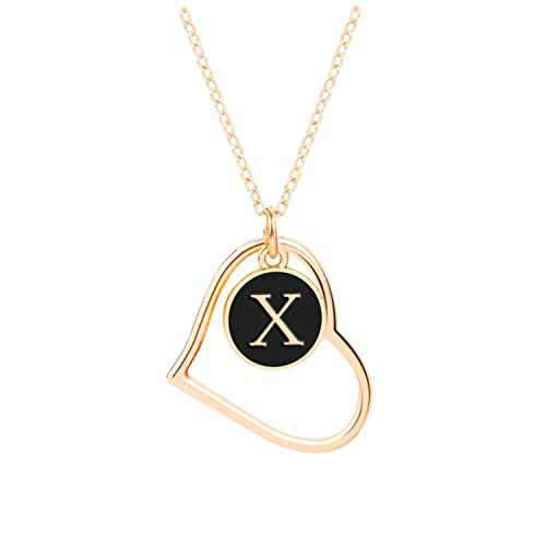 X Initial Necklaces, Jewelry Necklace for Women Girls, 16K Gold Plated Custom Name Necklace Personalized, Dainty Chain Choker Heart Shaped Pendant, Ideal Toys and Gift for Teen Girls or Daily Wear