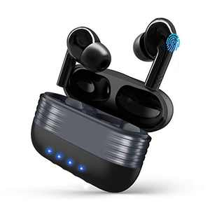 Wireless Earbuds Bluetooth,CRUA Earphones Touch Control in-Ear Headset True Wireless Stereo Earbuds with Microphone for iPhone, Andriod with Mic Stand for Travel,Working,Gym-Black