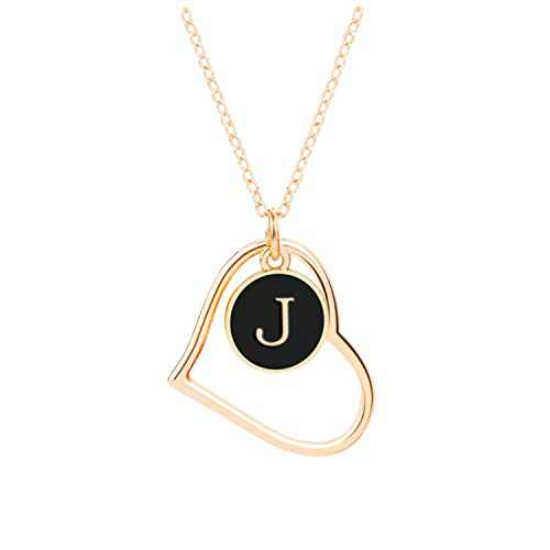 J Initial Necklaces, Jewelry Necklace for Women Girls, 16K Gold Plated Custom Name Necklace Personalized, Dainty Chain Choker Heart Shaped Pendant, Ideal Toys and Gift for Teen Girls or Daily Wear