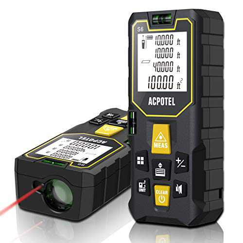 Laser Measure, ACPOTEL Super Cost-Effective 165 ft Laser Tape Measure - 2 Bubble Levels, Laser Distance Meter with Mute Function/Backlit LCD Screen/Pythagorean/Distance/Area/Volume Mode