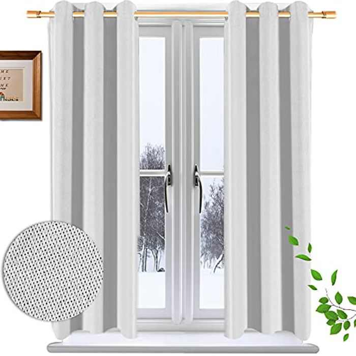 Krismile cream Bedroom Eyelet Blackout Curtains-2 Panels Set Ring Top Thermal Insulated Soft Window Treatment Darkening Panels for Kitchen   Living Room   Decoration 46 X 54Inch Drop
