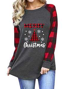 Womens Merry Christmas T-Shirts Plaid Tree Snowflake Graphic Letter Printed Patchwork Raglan Tops Red