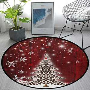 Round Area Rug Non-Slip Large Circle Rugs for Living Room Bedroom Christmas Tree Winter 3-Feet Diameter Modern Microfiber Soft Carpet Machine Washable Floor Mat Home Decor
