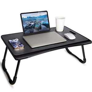 Laptop Desk, Foldable Laptop Desk Tray Leather Table with Storage Drawer Slot and Cup Holder for Study, Work, Breakfast in Bed