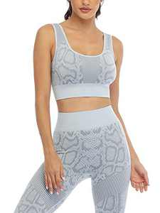 Seamless Workout Outfits for Women 2 Piece High Waisted Leggings with Sports Bra Gym Yoga Set (8004L-Ice Grey)