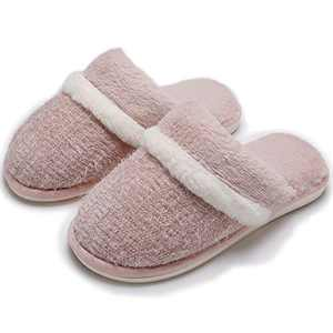 Memory Foam House Slippers for Women Comfy Fluffy Faux Fur Cute Slippers Slip on Anti-Skid,Size 5 6 Pink,Gifts for Women Mom