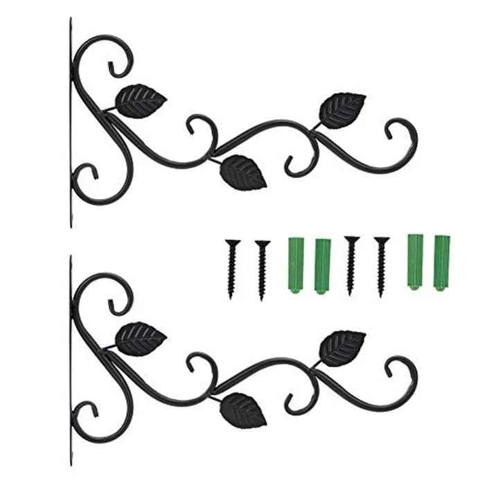 Rehomy 2Pcs Iron Hanger Hook, European Style Wall‑Mounted Decorative Wall Hook Rack for Flower Pots Garden