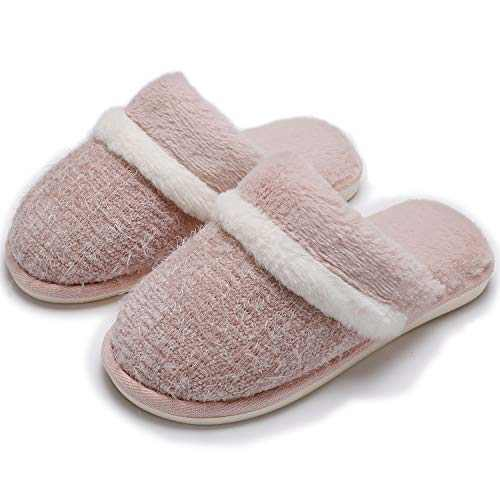 Memory Foam House Slippers for Women Comfy Fluffy Faux Fur Cute Slippers Slip on Anti-Skid,Size 9 10 Pink,Gifts for Women Mom
