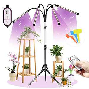 Lamyba Plant Grow Light for Indoor Plants Full Spectrum, 4 Head LED Plant Grow Light Stand Adjustable 11-63 Inch, Remote Control, 9 Dimmable Levels