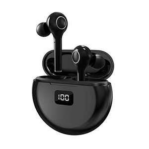 Wireless Earbuds Bluetooth 5.0, CRUA True Wireless Earbuds Digital LED Battery Display, Stereo Headphones with Charging case Microphone for iPhone, Andriod Built-in Mic Stand for Sports Exercise-Black