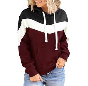 Women's Color Block Drawstring Hoodies with Pocket Casual Patchwork Pullovers Sweatshirts Tops Wine Red