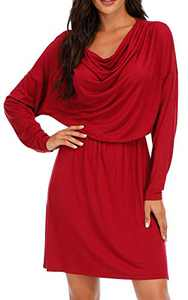 VZULY Women's Long Sleeve Folds Cowl Neck Casual Loose Mini Dresses Red XXL