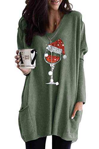 LAMISSCHE Womens Christmas Wine Glass Tunic Tops Long Sleeve Crewneck Casual Shirts Oversized Sequin Pocket Sweatshirt Dress(Green,XL)