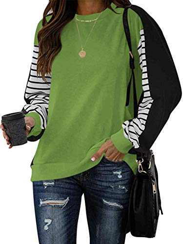 Margrine Women's Long Sleeve T Shirt Causal Round Neck Pullover Color Block Tunic Tops Green 2MA92-lvse-L