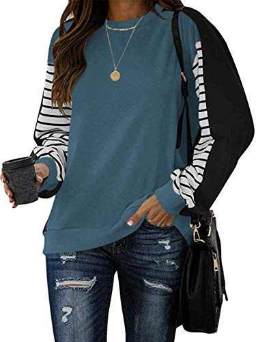 Margrine Women's Color Block Sweatshirts Casual Long Striped Sleeve Round Neck Shirts Loose Tops Navy 2MA92-zanglan-L
