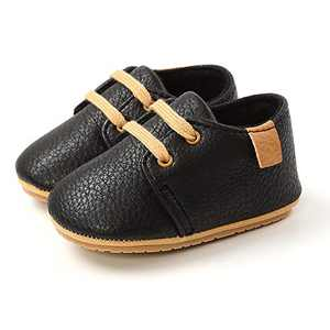 Baby Boys Girls Oxford Shoes Newborn Leather Crib Shoes Soft Rubber Sole Ankle Boots Infant Walking Moccasins (0-6 Months, Black)