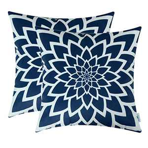 TEAGAN Throw Pillow Covers, 2PCS Cushion Covers with Flower Print, Throw Pillow Covers for Home Decorative Bedroom Living Room, Home Garden Couch Bed Sofa Chair, 18X18 Inch, Navy Blue
