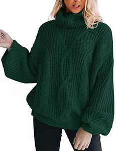 YUOIOYU Women's Long Sleeve Turtleneck Sweater Chunky Cable Knit Oversized Pullover Jumper Tops Olive