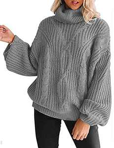 YUOIOYU Women's Long Sleeve Turtleneck Sweater Chunky Cable Knit Oversized Pullover Jumper Tops Grey