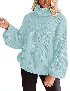 YUOIOYU Women's Long Sleeve Turtleneck Sweater Chunky Cable Knit Oversized Pullover Jumper Tops Mint