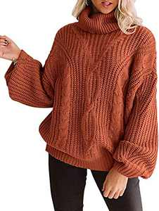 YUOIOYU Women's Long Sleeve Turtleneck Sweater Chunky Cable Knit Oversized Pullover Jumper Tops Orange