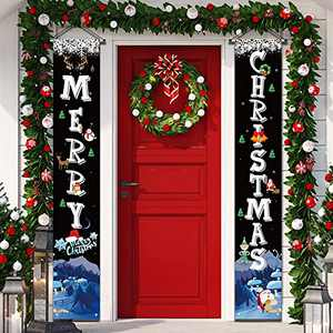 YUFOL Christmas Door Decorations for HomeChristmas Banner,Hanging Christmas Door Decor Porch Sign for Front Door Welcome Christmas Banners Xmas Decor Flags-Large Size(Black)