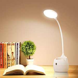 Samuyang Led Desk Lamp,Desk Light with Pen Holder & Phone Stand,360°Flexible Desk Lamp with USB Charging Port,Dimmable Table Lamp for Studying,Reading,Working
