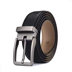 Men's Belts, S SNAKE&KING Leather Dress Belts Made with Leather- Classic and Fashion Design for Work Business and Casual (Black)