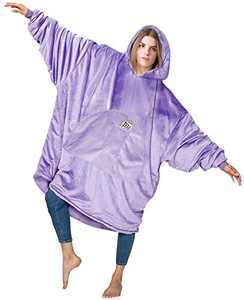 HOMELEX Sweatshirt Blanket Hoodie Wearable Blanketed Warmth, Softest, Plush for Adult Men Women (Purple)