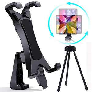 iPad Tripod Mount Adapter with Tripod Remote 360 Degree Rotatable Break-Resistant, Universal Tablet Clamp Holder for Ipad Air, Mini, Microsoft Surface, Nexus, for Tripod Monopod, Selfie Stick