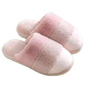 SINNO Cozy Slippers for Women,Warm Soft Non-Slip House Shoes,Indoor Outdoor Plush Furry Slippers with Stripe,Winter Gift for Women Mom Wife Teen Girls