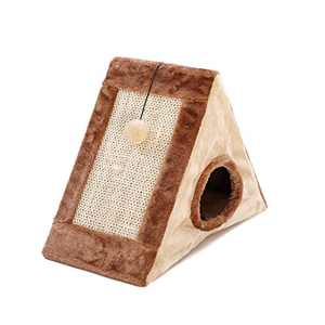Oteas Foldable Winter Cat Bed Warm Furry Cat Dog Cave Bed Triangle Cat House Tent for Cat Kitten Rabbit (21.65''x19.69''x9.84'')