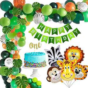 137 Pcs Jungle Theme Party Supplies, BMZUC Balloon Garland Arch Kit, Party Birthday Balloons Decorations, Favors for Kids Girls Boys Birthday Baby Shower Decor, Green Balloons for Parties