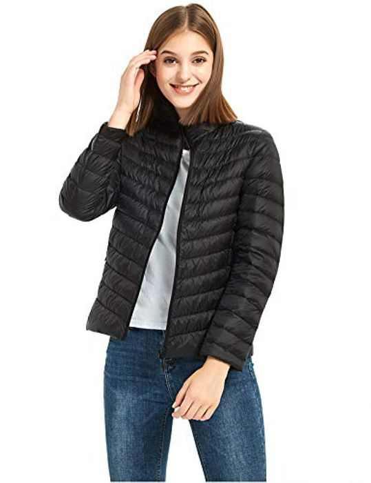 ilishop Women's Packable Short Down Jacket Lightweight Stand Collar Coat Outwear Puffer