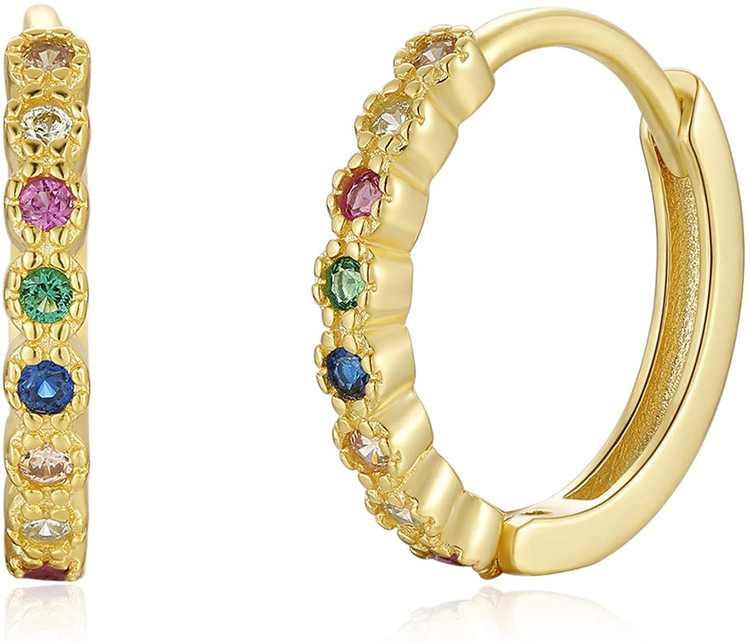Qings Small Hoop Earrings 925 Sterling Silver - Colorful CZ Huggie Earring, Tiny Huggie Earring for Women Girls