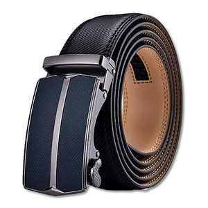 Men's Belt,S SNAKE&KING Slide Ratchet Belt for Men Genuine Leather, Trim to Fit, Work Business and Casual (52 inch)