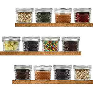 Mason Jars 4OZ 12PACK, YMKJ Regular Mouth Mini Canning Jars with Lids and Bands,Crystal Jars Ideal for Food Storage, Jam, Body Butters, Jelly, Wedding Favors