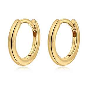 Small Gold Hoop Earrings for Women Girls, S925 Sterling Silver Post 8.5MM Tragus Sleeper Earring Hypoallergenic Jewelry Gold Hoop Earrings for Women Sensitive Ear