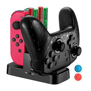Controller Charger Dock for Nintendo Switch Joy-Cons, Magnetic Charging Port Station for Switch Pro Controller with Type C Charging Cable