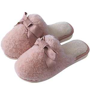 SINNO House Slippers for Women Memory Foam Soft Cozy Plush Non-Slip Warmth Wear-Resistant Sweat-Absorption Bow Fluffy Indoor Pink