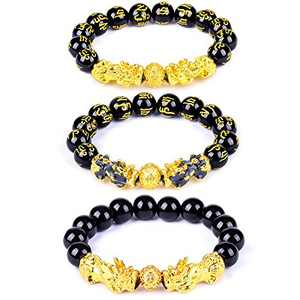 SIBOSUN 3 Pcs Pi Xiu Bracelet Feng Shui Black Obsidian Pi Yao Lucky Wealthy Bracelet for Women Men Adjustable Elastic Hand Carves Bracelets Mantra Thermochromic Material Pixiu
