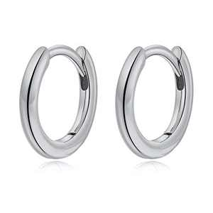 Small Hoop Earrings for Women Girls, S925 Sterling Silver Post Little Catilage Hoop Earring Hypoallergenic White Gold Hoop Earrings for Women Ear Jewelry 8.5MM