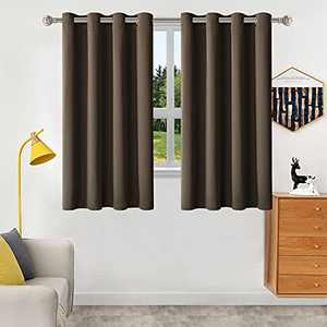 """Brown Black Out Curtains 63 inch Length 2 Panels for Bedroom,Thermal Insulated with Grommet Window Drapes,Room Darkening Soundproof Curtains with for 102"""" Widest Window"""