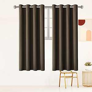 """Brown Blackout Curtains for Living Room 84 inch Long Room Darkening Curtains 2 Panels,Thermal Insulated Window Drapes for Bedroom Soundproof Curtains with Grommet W 52"""" by L 84"""""""