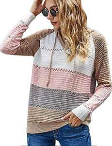 Hollow Out Sweater for Women- Lightweight Color Block Knit Striped Hoodies+ V Neck Oversized Pullover Sweatshirts Tops Pink Medium