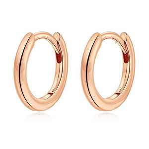 Tiny Hoop Earrings for Women Girls, S925 Sterling Silver Post Tragus Sleeper Earring Hypoallergenic 8.5MM Rose Gold Hoop Earrings for Women Girls Jewelry