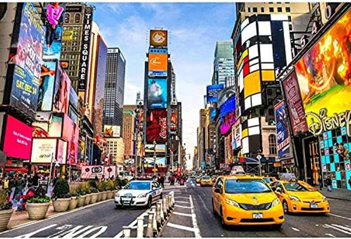FITIFO 1000 Piece Jigsaws Puzzles, Jigsaw Puzzles for Adults Teenagers Jigsaws 1000 Pieces Ideal for Relaxation Meditation Hobby Birthday for Dad Mother (70x50cm) (Time Square)