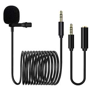 Lavalier Microphone Lapel Mic Kit LituFoto VV10 3.5mm Jack Professional Clip-on Mic with Omnidirectional Condenser for DSLR, Camera, Video Conference, Noise Cancelling Mic (3.5mm Jack 1.5M/4.92FT)