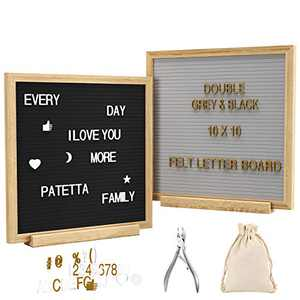 """GSOW 10""""10"""" Felt Letter Board 10""""10"""" Double Sided(Black & Gray) with 340 White Letters and 180 Gold Letters, Pure Handmade Wood Stand, Multi-Use Scissors, and Canvas"""